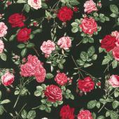 Rose Garden - Allover Roses Black Yardage