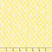 Nana Mae IV - Tossed Elephants on Plaid Yellow Yardage