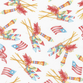 Back Porch Celebration - Vintage Fireworks Clothesline White Yardage