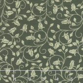 A Festival of Roses - Trailing Buds Dark Green Pearlized Yardage