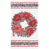 Holiday Flourish 13 - Silver Wreath Scarlet Metallic Panel