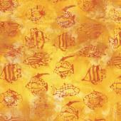 Ocean Odyssey Batiks - Tropical Fish Daffodil Yardage