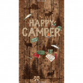Novelty - Happy Camper Brown Panel