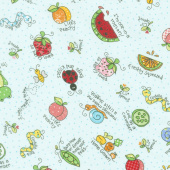 Lil' Sprout Too! - Lil' Sprout Toss Teal Flannel Yardage