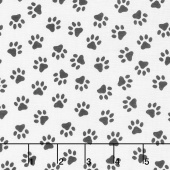 Somebody to Love - Paw Print White Yardage