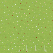 We Whisk You A Merry Christmas - Multi Pin Dot Green Multi Yardage