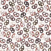 Chocolicious - Chocolate Pretzel Cream Digitally Printed Yardage