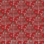 Hearthside Holiday - Holly Jolly Trees Berry Red Yardage