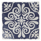 Indigo Patterns Coaster - Scroll Medallion