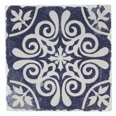 Indigo Patterns Coaster - Scroll Medallion