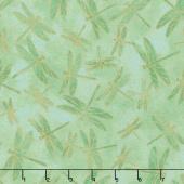 Shimmer Koi Pond - Dragon Fly Green Metallic Yardage
