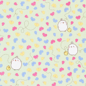Molang - Butterflies Green Yardage