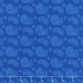 Wilmington Essentials - Blue Ribbon Paisley Toss Medium Dark Blue Yardage