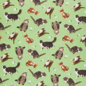 Meadow Meow - Cats Green Yardage
