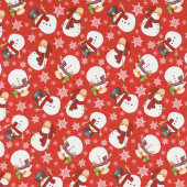 Timber Gnomies - Tossed Snowmen Red Yardage