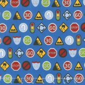 Traffic Jam - Signs Blue Yardage