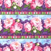 Peony Passion - Large Stripe Purple Yardage