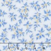 Holiday Flourish 10 - Blue Small Holly Blue Metallic Yardage