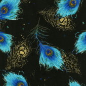 Moonlight Plume - Falling Feathers Black Metallic Yardage