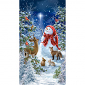 Starry Night - Snowman & Woodland Creatures Multi Panel