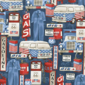 All American Road Trip - Gas Station Icons Navy Yardage