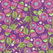 Sweet Pea & Lily - Aster Flowers Plum Yardage