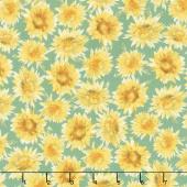 Bee My Sunshine - Sunflowers Green Yardage