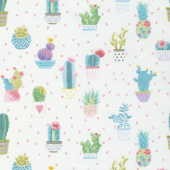 Sun N' Soil - Mini Cactus with Dot Ivory Yardage