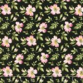Wild Rose - Open Roses Black Flannel Yardage