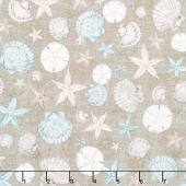 Coastal Wishes - Packed Seashells Brown Yardage