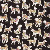 Dog On It - Hot Diggity Large Black Multi Metallic Yardage
