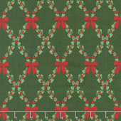 Let It Sparkle - Bows and Holly Radiant Pine with Red Glitter Yardage