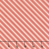 Ella & Ollie - Bias Ticking Stripe Strawberry Yardage