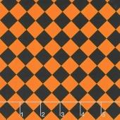 Fright Night - Harlequin Black and Orange Yardage