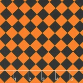 Fright Night - Harlequin Black and Orange Yardage