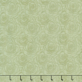 A Festival of Roses - Outline Roses Medium Green Pearlized Yardage