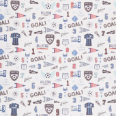 Varsity - Soccer Icons Coral Yardage