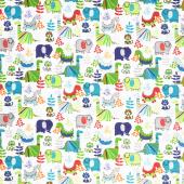 Comfy Flannel® - Dinosaur White Yardage