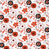 Red Alert - Large Floral White Yardage
