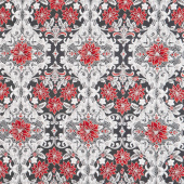 Holiday Flourish 12 - Scarlet Poinsettia Ebony Metallic Yardage
