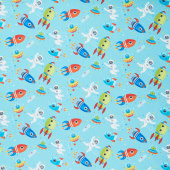 Outer Space - Scene Blue Yardage