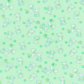 Nana Mae IV - Tossed Bunnies and Bears Green Yardage