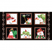 Snow Bird - Snowman Block Black Flannel Panel