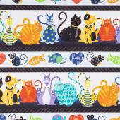 Feeline Good - Cats Repeating Stripe Multi Yardage