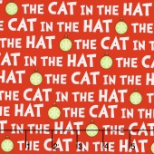 The Cat in the Hat Christmas - Christmas Cat Text Red Yardage