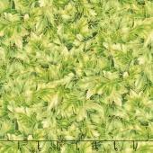 Shades of the Season 10 - Oak Leaves Green Metallic Yardage