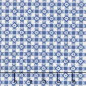 Aunt Grace's Flower Pots - Checker Flowers Blue Yardage