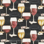 Wine Night - Wine Glasses Black Yardage