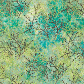 Artisan Batiks - Twilight Snowfall Berry Branches Spruce Metallic Yardage