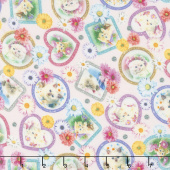 Kitty Glitter - Tossed Frames Pink Digitally Printed Yardage